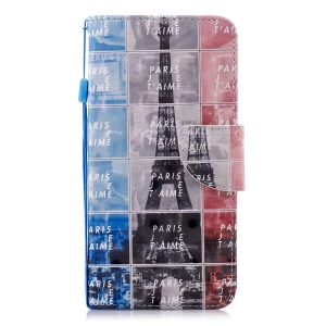 For OnePlus 6 Patterned Light Spot Decor Wallet Stand Leather Protection Casing - Eiffel Tower