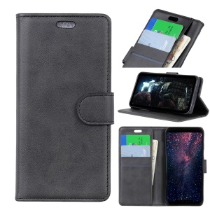 For OnePlus 6 Matte PU Leather Wallet Stand Protective Cover - Black