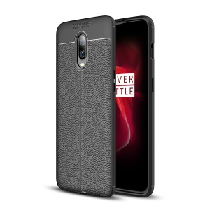Litchi Texture TPU Case for OnePlus 6T - Black