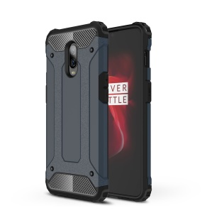 For OnePlus 6T Cool Armor Guard Case Plastic + TPU Hybrid Phone Cover - Dark Blue