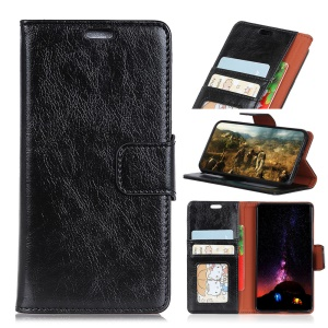 Textured Split Leather Wallet Stand Cellphone Shell for OnePlus 6T - Black