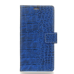 Crocodile Texture PU Leather Wallet Case for OnePlus 6T - Blue