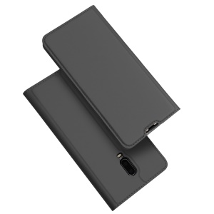 DUX DUCIS Skin Pro Series [Stand] [Card Holder] Leather Shell for OnePlus 6T - Dark Grey
