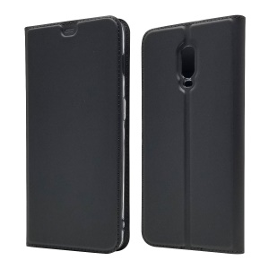 Auto-absorbed Flip Leather Case with Card Holder Stand for OnePlus 6T - Black