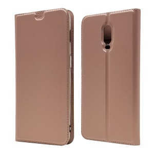 Auto-absorbed Flip Leather Card Holder Cover with Stand for OnePlus 6T - Rose Gold