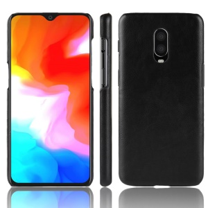 Litchi Skin Leather Coated Hard Casing for OnePlus 6T - Black