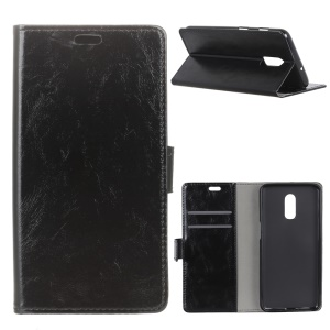 Crazy Horse Wallet Leather Stand Case for OnePlus 6T - Black