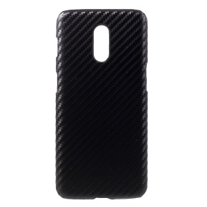 PU Leather Coated Hard PC Mobile Case for OnePlus 6T - Carbon Fiber Texture