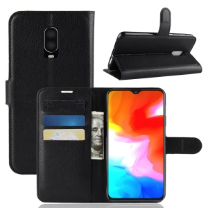 Litchi Skin PU Leather Protection Mobile Phone Case for OnePlus 6T - Black