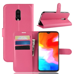 Litchi Skin PU Leather Phone Casing with Stand for OnePlus 6T - Rose