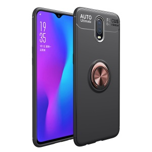 Finger Ring Kickstand TPU Mobile Cover for OnePlus 6T (Built-in Magnetic Metal Sheet) - Black/Rose Gold