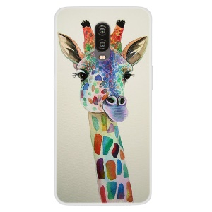 Pattern Printing TPU Cover for OnePlus 6T - Giraffe Painting