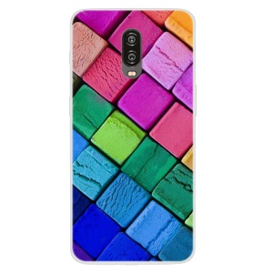 Pattern Printing TPU Soft Case for OnePlus 6T - Colorful Blocks