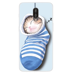 Pattern Printing TPU Phone Cover Case for OnePlus 6T - Sleeping Cat