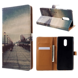 Pattern Printing Leather Wallet Case for OnePlus 6T - Dock at Sunset