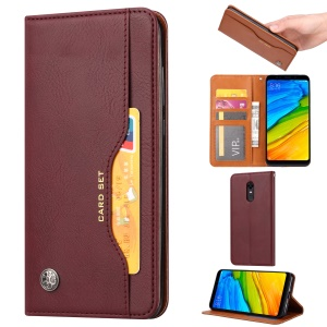 Auto-absorbed Leather Wallet Shell Case for OnePlus 6T - Wine Red