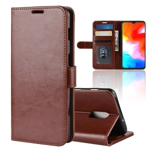 Crazy Horse Magnetic Stand Wallet Leather Flip Case for OnePlus 6T - Brown
