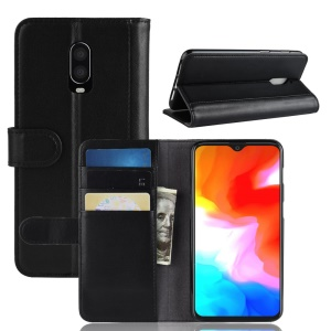Genuine Split Leather Wallet Stand Phone Case for OnePlus 6T - Black