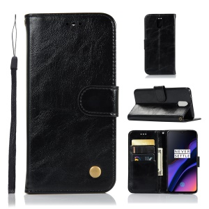 Premium Vintage PU Leather Phone Case for OnePlus 6T - Black