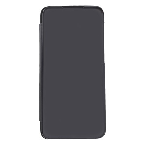 Plated Mirror Surface View Window Leather Phone Cover for OnePlus 6T - Black