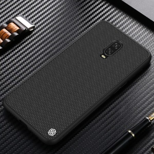 NILLKIN Textured Anti-fingerprint PC TPU Hybrid Mobile Phone Case for OnePlus 6T - Black