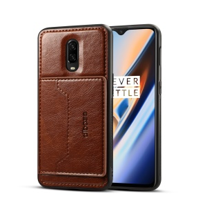 Crazy Horse PU Leather Coated Hybrid Phone Case [Card Holder Kickstand] for OnePlus 6T - Coffee