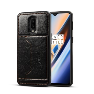 Crazy Horse PU Leather Coated Hybrid Shell [Card Holder Kickstand] for OnePlus 6T - Black