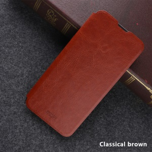 MOFI Rui Series Flip Leather Stand Cell Phone Case for OnePlus 6T - Brown