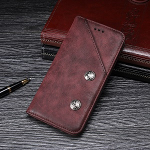 IDEWEI Vintage Style Leather Stand Case for OnePlus 6T - Red