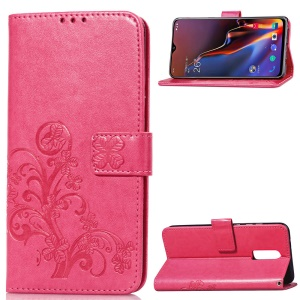 HAT PRINCE Imprinted Clover Leather Wallet Case for OnePlus 6T - Rose