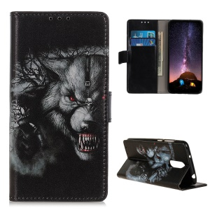 Pattern Printing Wallet Stand Leather Phone Cover for OnePlus 7 Pro- Fierce Wolf