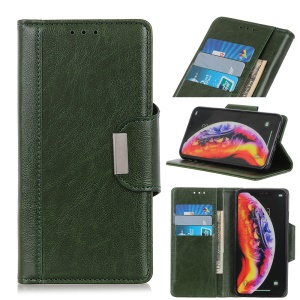 Glossy PU Leather Wallet Case for OnePlus 7 Pro - Army Green