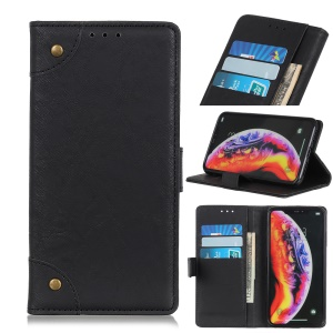 Rivet Decor Retro Style PU Leather Wallet Phone Cover for OnePlus 7 - Black
