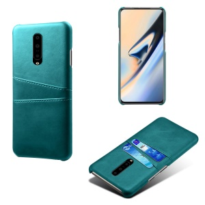 Double Card Slots PU Leather Coated PC Cell Phone Case for OnePlus 7 Pro - Baby Blue