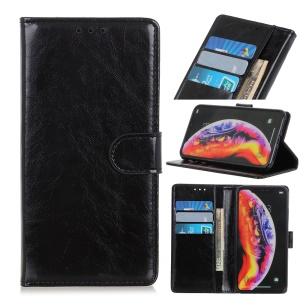Crazy Horse Wallet Leather Stand Case for OnePlus 7 - Black