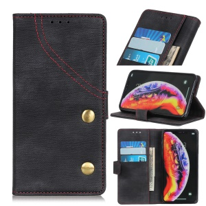 Jeans Cloth Leather Phone Case with Stand Wallet for OnePlus 7 - Black