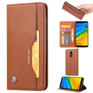 Auto-absorbed Wallet Stand Flip Leather Case for OnePlus 7 - Brown