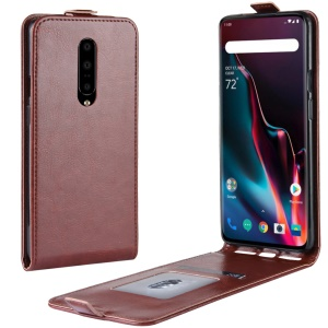 Crazy Horse Vertical Flip Leather Phone Shell with Card Slot for OnePlus 7 Pro - Brown