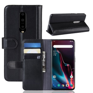 Split Leather Mobile Case with Wallet Stand for OnePlus 7 Pro - Black