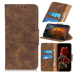 Retro Split Leather Wallet Stand Protective Cover for OnePlus 7 - Coffee