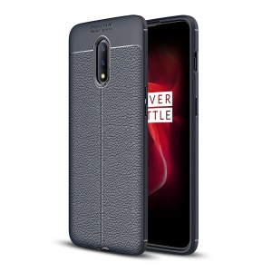 Litchi Skin Soft TPU Protective Case for OnePlus 7 - Blue