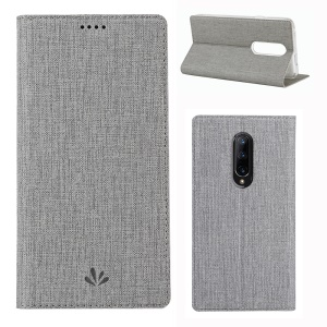 VILI DMX Cross Texture Card Holder Leather Stand Cover for OnePlus 7 Pro - Grey