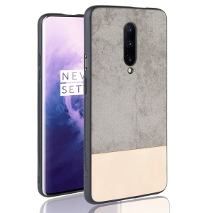 Bi-color Splicing PU Leather Coated PC + TPU Hybrid Case for OnePlus 7 Pro - Grey