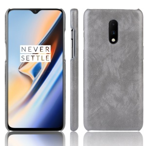 Litchi Skin Leather Coated Hard PC Case for OnePlus 7 - Grey