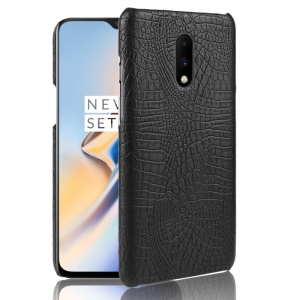 Crocodile Skin PU Leather Coated PC Case for OnePlus 7 - Black