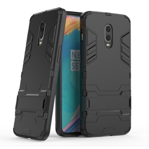 Plastic + TPU Hybrid Case with Kickstand for OnePlus 7 - Black