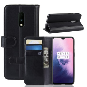 Genuine Split Leather Wallet Stand Phone Cover for OnePlus 7 - Black