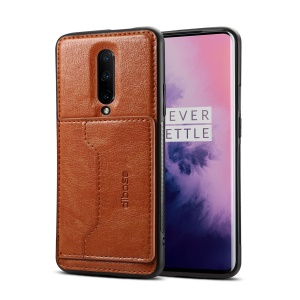 Crazy Horse PU Leather Coated TPU PC Hybrid Case for OnePlus 7 Pro - Brown