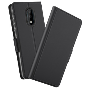 Magnetic Adsorption TPU + PU Flip Stand Case with Card Holder for OnePlus 7 - Black