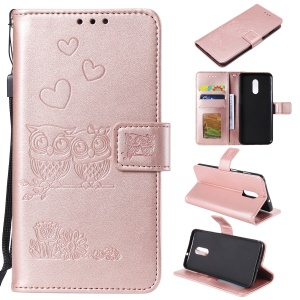 Imprint Owl Magnetic Wallet PU Leather Stand Cover for OnePlus 7 - Rose Gold